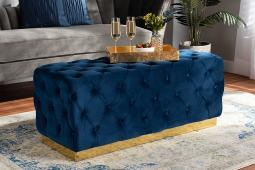 Baxton Studio Corrine Glam and Luxe Navy Blue Velvet Fabric Upholstered and Gold PU Leather Ottoman