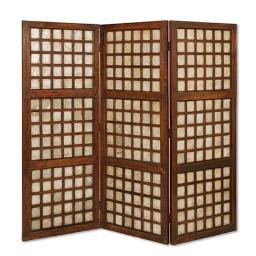 Wooden Foldable Square Screen with Grid Pattern, Brown