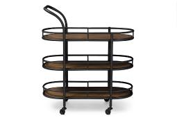 Baxton Studio Karlin Rustic Industrial Style Antique Black Textured Finish Metal Distressed Wood Mobile Kitchen Bar Serving Wine Cart
