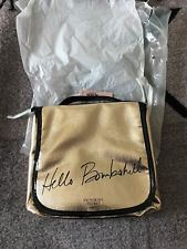 Victoria's Secret HELLO BOMBSHELL Gold Travel Makeup Beauty Bag Hanging Pouch