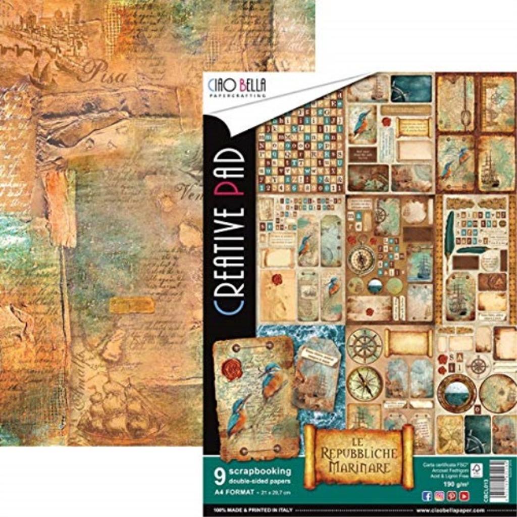 Ciao Bella CBCL013 Double-Sided Paper Pack 90lb A4 9/Pkg-Repubbliche Marinare, 9 Designs/1