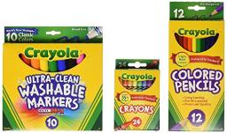 Crayola Back To School Supplies, Grades 35, Ages 7, 8, 9, 10, Contains 24 Crayola Crayons, 10 Washable Broad Line Markers, And 12 Colored Pencils