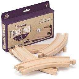 4Piece 6 Curved Wooden Train Track Value Booster Pack Compatible With All Major Toy Train Brands By Conductor Carl