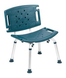 Offex Tool Free and Quick Assembly 300 Lb Capacity Adjustable Bath Shower Chair with Extra Large Back - Navy