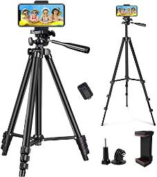 Linkcool Phone Tripod 50 Adjustable Travel Video Tripod Stand With Phone Mount Holder Compatible With Cell Phone Tripod, Action Camera Tripod, Dslr Tripod With Wireless Remote Shutter Black