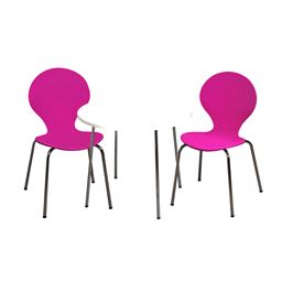 Gift Mark Modern Childrens Table and 2 Chair Set with Chrome Legs (Purple Color Chairs)