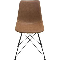 Leatherette Upholstered Dining Chair with  Metal Legs, Brown  and Black, Set  of Four