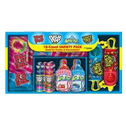 Bazooka Candy Brands, Lollipop Variety Pack w/ Assorted Flavors of Ring Pop, Push Pop, Baby Bottle Pop, and Juicy Drop Pop (18Count Box)-Gift box