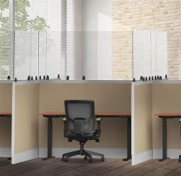 """Offex Clear Cubical Desktop Panel, Freestanding Protective Acrylic Shield and Sneeze Guard, Portable Desk Divider for Desks and Tabletops - Perfect for Offices, Schools, Libraries and more, 3 Pack (30"""" x 30"""")"""