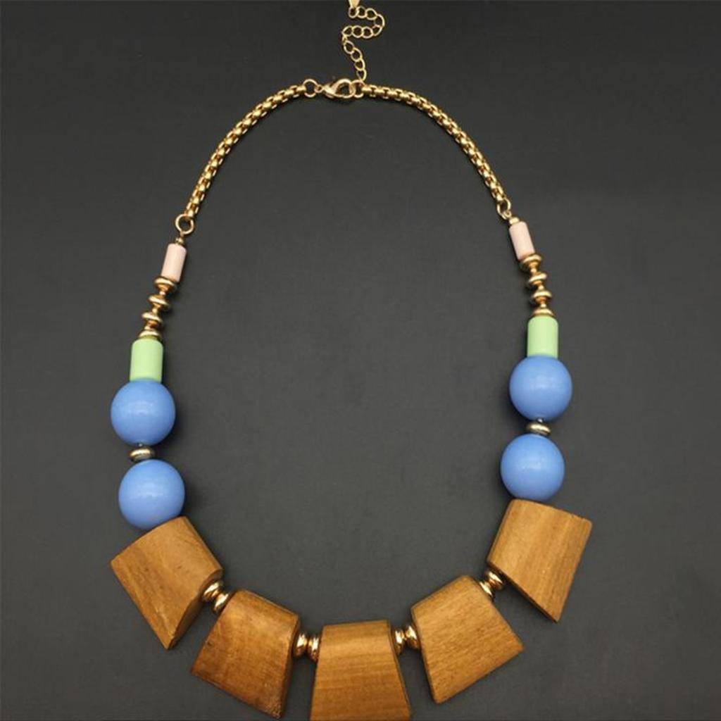 SimplyMaelle Vintage Wood and Bead Statement Necklace