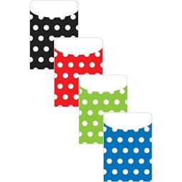 Top Notch Teacher Products Library Pockets P&S Assorted Polka Dot