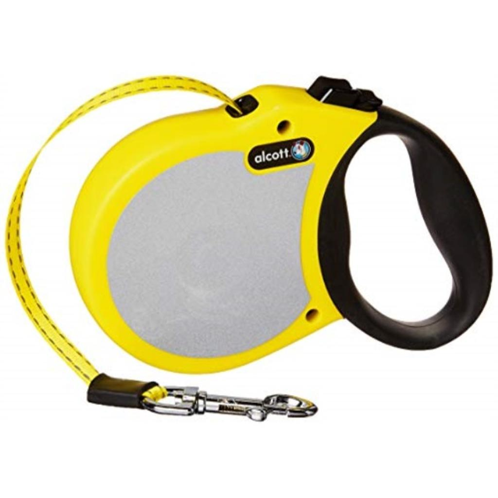 Alcott Visibility Retractable Reflective Belt Leash, 16' Long, Small for Dogs Up to 45 lbs, Neon Yellow with Reflective Accents