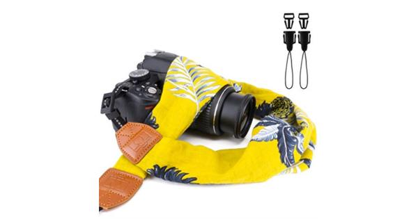 Elvam Universal Men and Women Scarf Camera Strap Belt Compatible for All DSLR Camera SLR Camera Instant Camera and Digital Camera - Yellow Blossom... Elvam Universal Men and Women Scarf Camera Strap Belt Compatible for All DSLR Camera SLR Camera Instant Camera and Digital Camera - Yellow Blossom Pattern