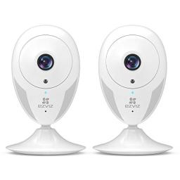 EZVIZ Indoor Security Camera 1080p Motion Alert Night Vision BabyPetElder Monitoring 135 Wide Angle 24G Wi-Fi 2-Way Audio Smart Home System Works with Alexa Google IFTTT iOS Android App 2PK CTQ2C