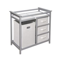 Badger Basket Co Modern Changing Table with 3 White Baskets and Hamper - Gray