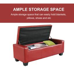 Shoe Storage Ottoman Bench - Red
