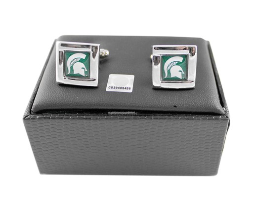 NCAA Michigan State Spartans Sports Team Logo Square Cufflinks Gift Box Set