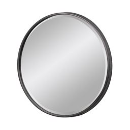 Urban Trends Metal Round Decorative Wall Mirror with Keyhole Hanger in Tarnished Finish, Large - Gray