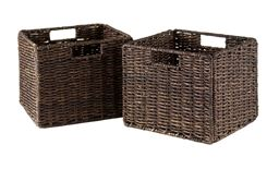 Winsome Granville Foldable 2 Piece Small Corn Husk Baskets, Chocolate
