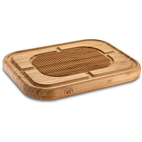 Bamboo Large Carving Board with Deep Juice Groove, Meat Cutting Board Pyramid Design Wooden Steak Board Chopping Board, Serving Board Stabilizes.
