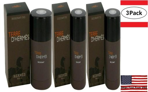 3 Pack Terre D'Hermes by Hermes Deodorant Stick 2.5 oz for Men Hermes Terre D'Hermes harkens to the scent of a natural man living in splendor. This elegant fragrance debuted on the market in 2006 and quickly defined itself as a leading industry standard. We are pleased to sell Hermes Terre d'Hermes products, including Terre d'Hermes cologne.