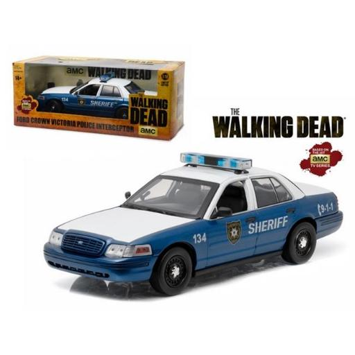 Greenlight 12957 Rick & Shanes 2001 Ford Crown Victoria Police Interceptor The Walking Dead 2010-2015 TV Series 1-18 Diecast Model Car