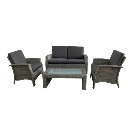 Northlight 32591330 4 Piece Gray Resin Wicker Outdoor Patio Furniture Set - Gray Cushions
