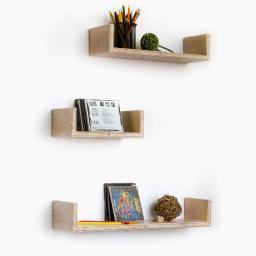 Beige Flower Pattern U-Shaped Leather Wall Shelf / Floating Shelf (Set of 3)