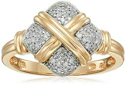 Yellow Gold Plated Sterling Silver Crisscross Square Diamond Ring (1/5cttw, I-J Color, I2-I3 Clarity), Size 6
