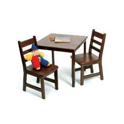 Lipper 514wn child's table chair set walnut