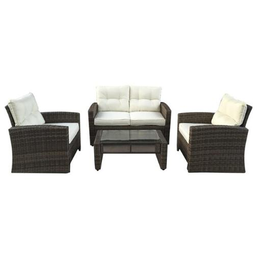 Northlight 32591333 4 Piece Two-Tone Brown Rattan Outdoor Patio Furniture Set - Beige Cushions