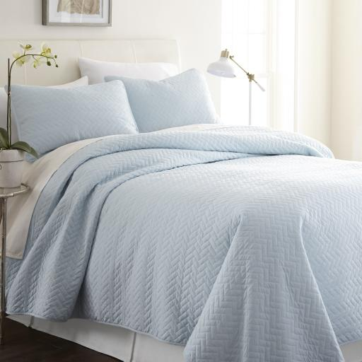 Soft Essentials&Trade; Premium Ultra Soft Herring Pattern Quilted Coverlet Set - King - Pale Blue(Pack Of 9)