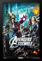 The Avengers Cast Signed Movie Poster Wood Framed with COA