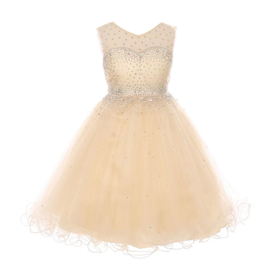 380983c56 Big Girls Champagne AB Rhinestone Illusion Party Junior Bridesmaid Dress 8 -16