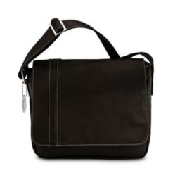 David King & Co 8470C Deluxe Medium Messenger with Inlay - Cafe