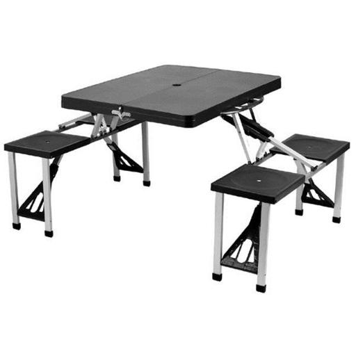 Picnic at Ascot 247-BLK Plastic Picnic Table set-Black