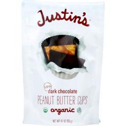 Justins Nut Butter Peanut Butter Cups - Organic - Dark Chocolate - Mini - 4.7 oz - case of 6
