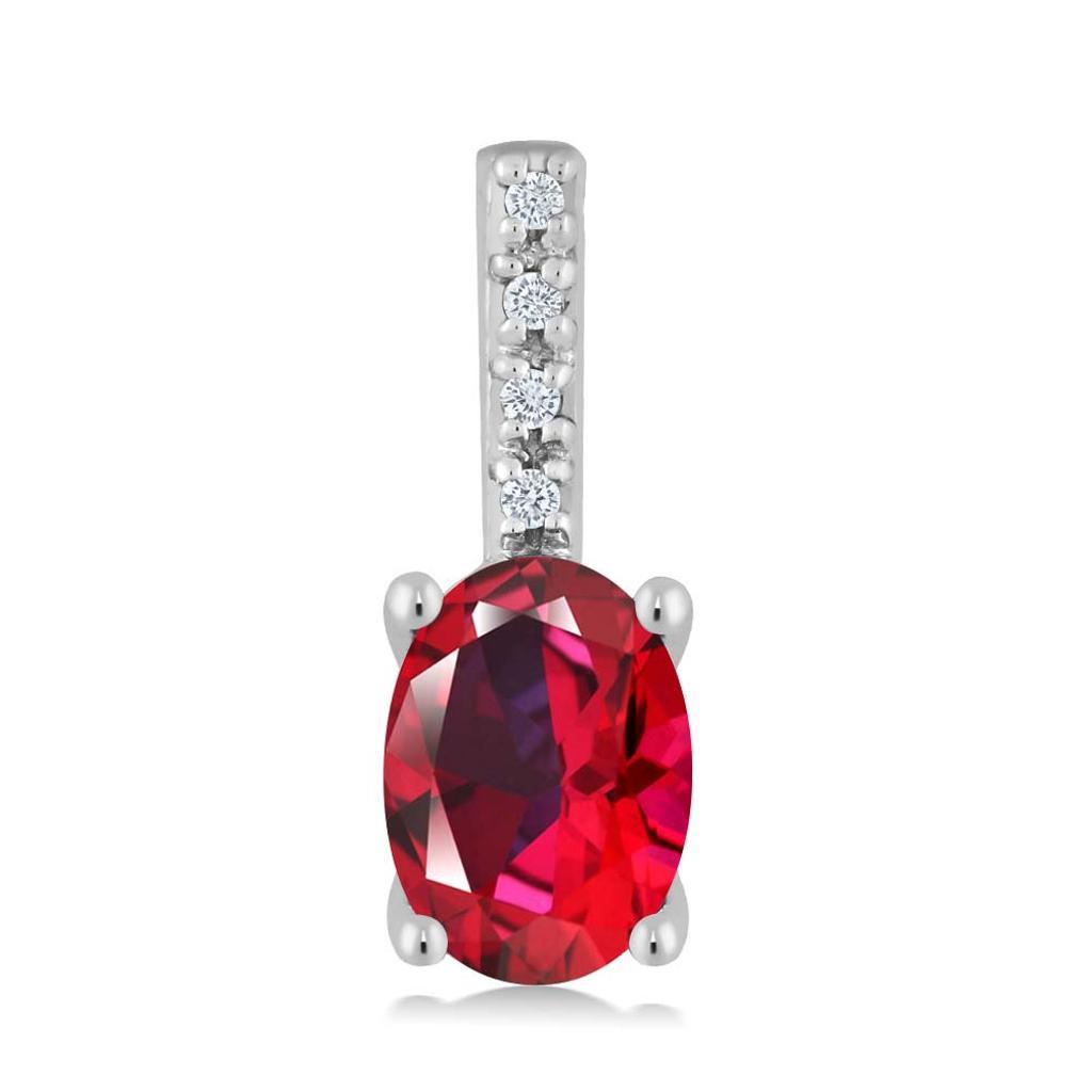 14K White Gold Diamond Pendant Set with Oval Blazing Red Topaz from Swarovski
