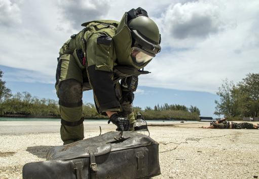 Soldier dressed in bomb suit inpecting a simulated improvised explosive device. Poster Print by Stocktrek Images
