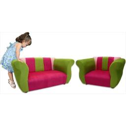 Fantasy Furniture ZF01 Fantasy Furniture Sofa and Chair Fancy Set Pink - Green Microsuede
