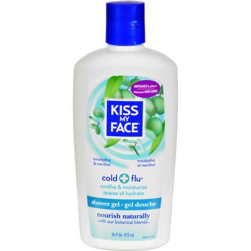 Kiss My Face Bath and Shower Gel Cold And Flu Eucalyptus and Menthol - 16 fl oz