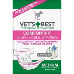 Vet'S Best 3165810447 White Vet'S Best Comfort-Fit Disposable Female Dog Diaper 12 Pack Medium White 5.18 X 4.75 X 8