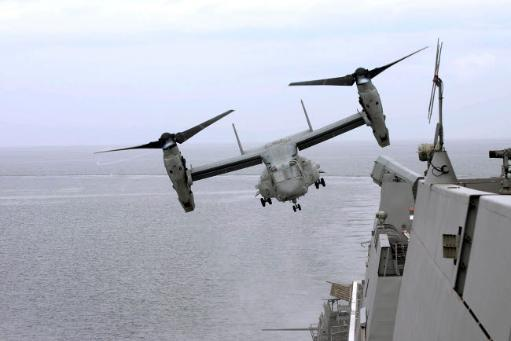 An MV-22B Osprey takes off from the amphibious transport dock ship USS Mesa Verde Poster Print by Stocktrek Images