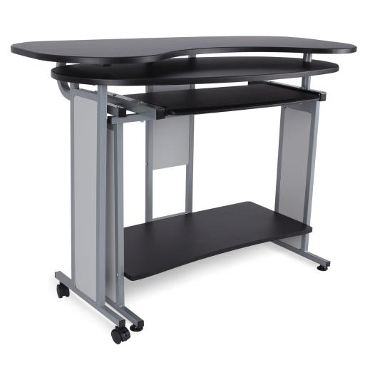 BELLEZE Modern 3-Tier Expandable Computer Desk w/ Pull-Out Keyboard Shelf and Bottom Storage Undershelf, Black & Silver