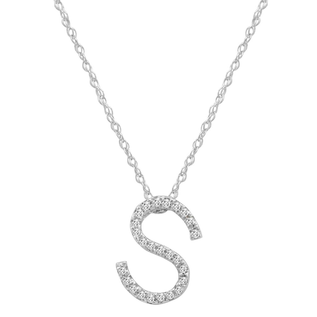 "14K White Gold Diamond ""S"" Initial Pendant, 16"" Necklace"