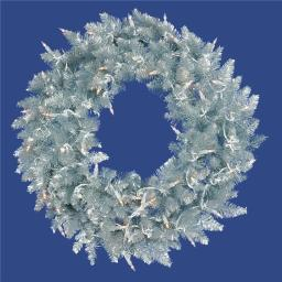 Vickerman K166937LED 36 in. Silver Fir Wreath with 100 Warm White Dura LED Light