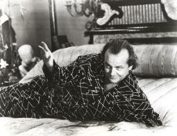 Jack Nicholson lying on bed in patterned outfit Photo Print GLP453917LARGE
