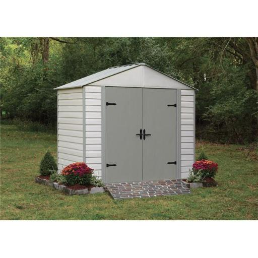 Arrow Sheds ASIVVCS85 Viking Vinyl Coated Steel Shed Kit - White & Grey CHO8ROM64X9COYKE