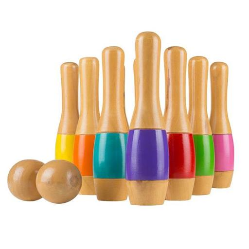 Hey Play M350015 9.5 in. Lawn Bowling Tall Wooden Lawn Game Indoor & Outdoor Toy, Adults & Kids - Multicolor