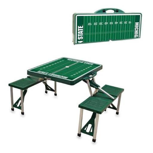 Picnic Time 811-00-121-355-0 Michigan State Spartans Digital Print Portable Folding Picnic Table with Four Seats, Green